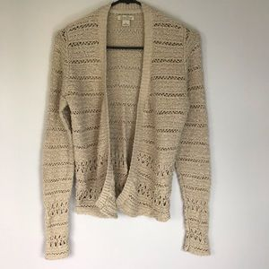 Lucky Brand Oatmeal Open Front Cardigan Sweater s